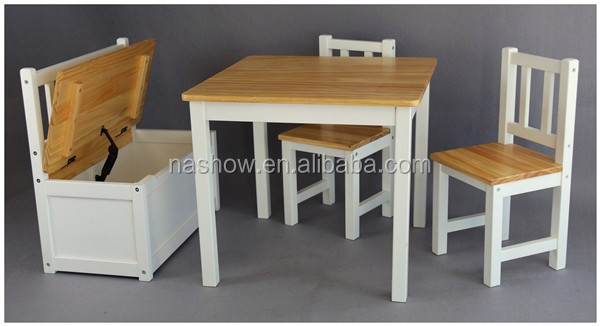 Cubby Plan LMMS-017 Pine Wood Child Table and Chair Set Wooden Kid Furniture