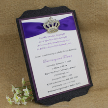 High Quality Elegant Handmade Custom Jeweled Glitter Wedding Invitations