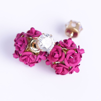 A Rose Red Stud Earrings with A Flower Ball, Temperament Simple and Fresh Young Girl Heart Sweet Individual Earrings