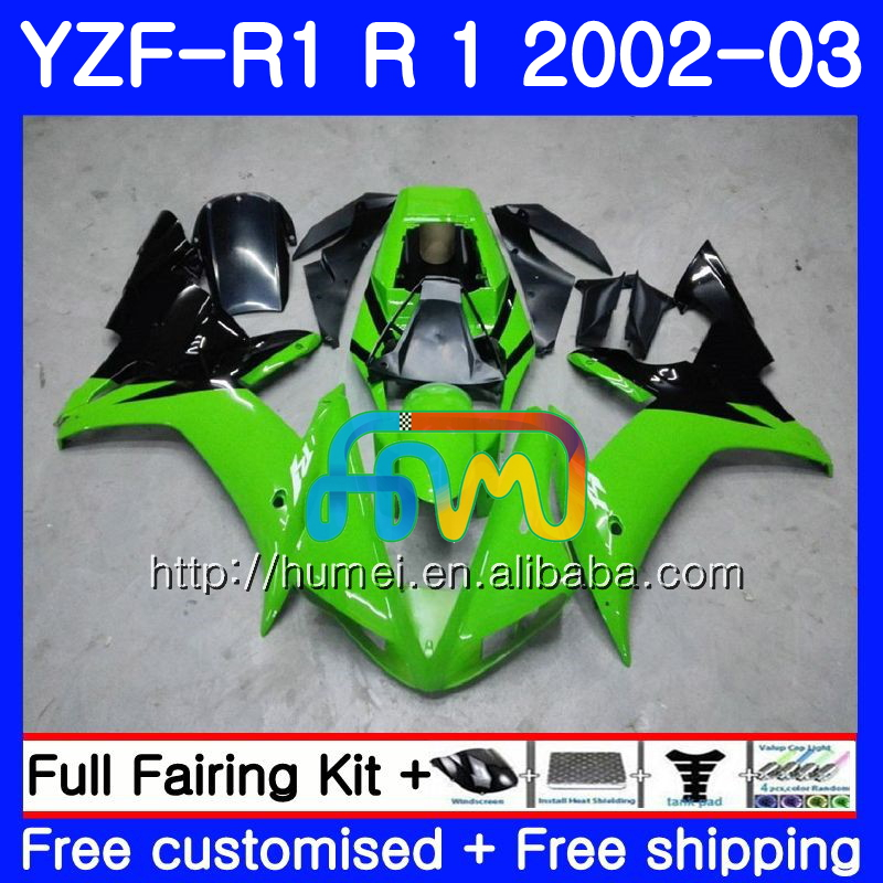 Body For YAMAHA YZF 1000 green black YZFR1 <strong>02</strong> <strong>03</strong> YZF-1000 Bodywork 99HM15 YZF R 1 YZF <strong>R1</strong> <strong>02</strong> <strong>03</strong> YZF1000 YZF-<strong>R1</strong> 2002 2003 <strong>Fairing</strong>
