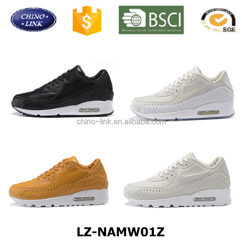 Air sole woven model running shoe, Genuine leather running men sport shoe, men and women hand made woven running shoe
