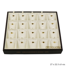 Egypt style PU leather finishing 20 grids jewelry display tray with hook