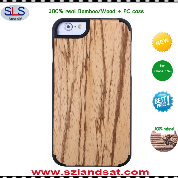 2016 hot wooden cell phone case for iphone 6s 7 bamboo wood case with pc oak IPC337j