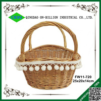 Handmade wicker gift flower basket for sale