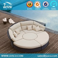 Juscu wicker outdoor furniture round lounge chairs for sofa bed set