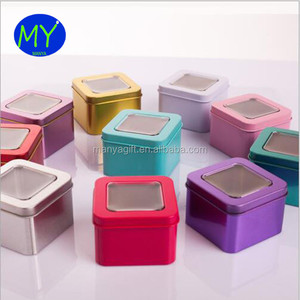 Metal gift packing box mini square window tin box with SGS certificate