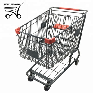 American style Supermarket Shopping Trolley Unfolded style with Chrome Plated Logo Printed