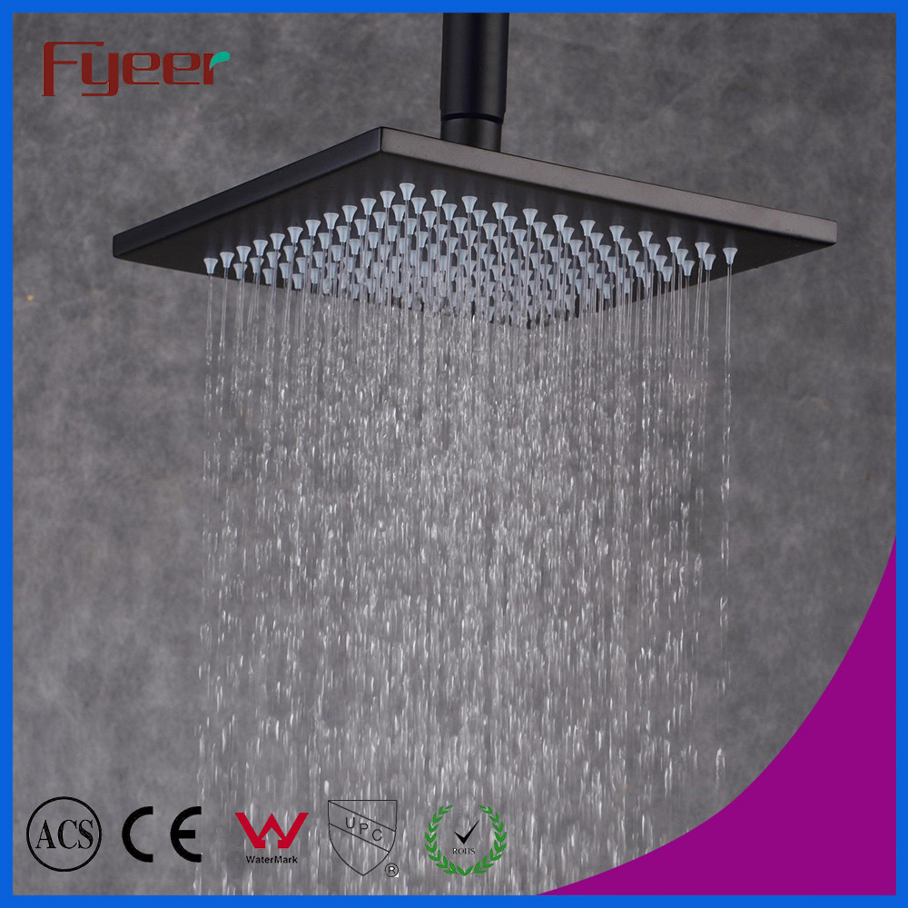 Fyeer Classic Style 8 Inch Square Oil Rubbed Black Rainfall Shower Head