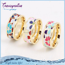 Bulk custom stainless steel enamel fake gold ring 18k