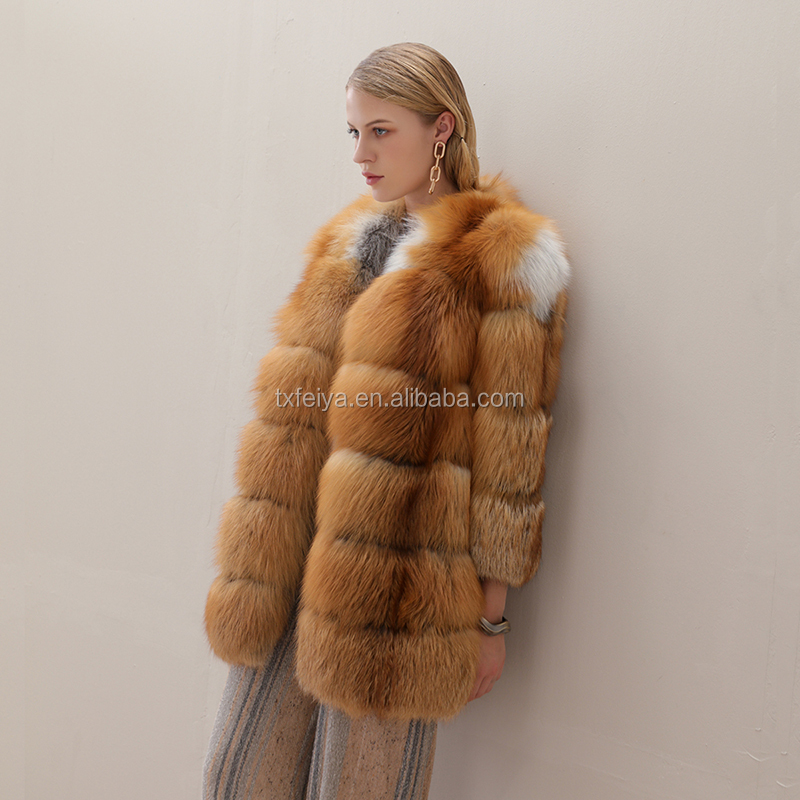 Fashion high end women red fox fur long coat