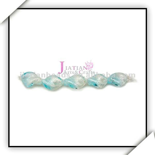 color combination twisted glass beads with silver foil