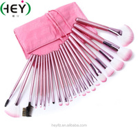 22pcs Synthetic Hair Pink Tip Makeup Brush Set With Storage Bag