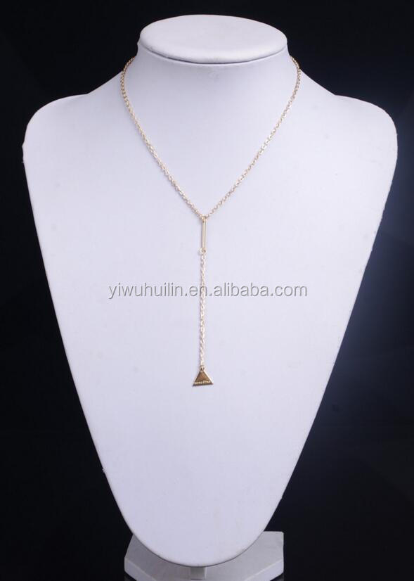XR007 Simple Long Tassel Triangle Choker Tassel Necklace Women Layer necklace gold plated