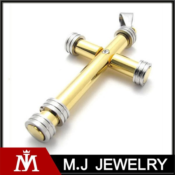 Bulk Sale 18k Gold Silver Stainless Steel Cross Pendant for Men's Cool Necklace Jewelry Designs