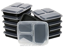1000ml black 3 compartment plastic disposable microwaveable lunch box with clear lid