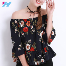 Women's Summer Blouses Off shoulder Tops Female White Chiffon Body Femme Ruffle Blouse And Floral Shirts