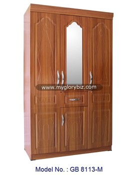 Classic Wooden 3 Doors Wardrobe Closet With Mirror Furniture In Unique Design For Home Bedroom Malaysia