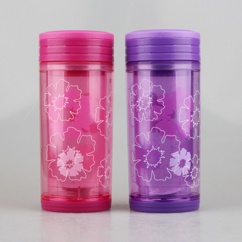 350ml Clear Double Wall Water Bottle with Filter