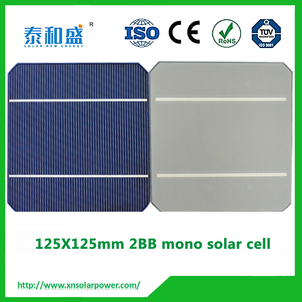 large stock! photovoltaic monocrystalline silicon solar cells 2BB 125mm price for sale