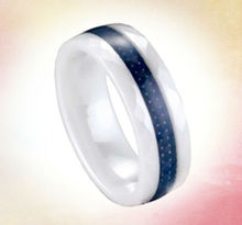 Wholesale 6MM white ceramic jewelry fashion rings inlay blue carbon fiber