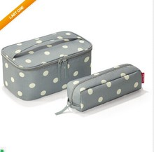 2 in 1 Toiletry Bag Grey Dots Travel Make-Up Cosmetic bag