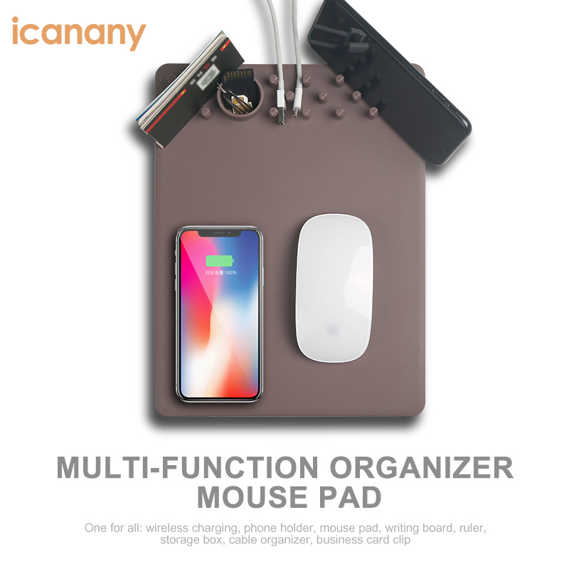 New Trend wireless charger mouse pad organizer type with phone holder/ruler fucntion for iphone x for samsung