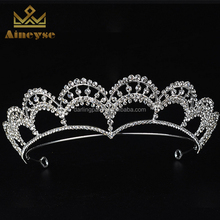 Sliver Crystal Round Crowns Tiara Princess Pageant Crowns for Girls