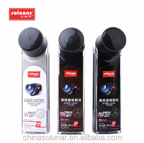 High Quality Liquid Shoe Polish Sealed Bottle sponge applicator with black brown and neutral colors good price A1104W