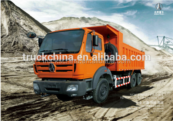 Low price Beiben Brand high qualiity New 3 axles 6*4 dump truck loading capacity