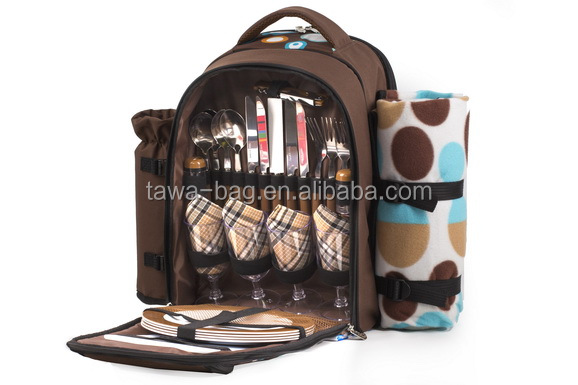 4 person picnic backpack with blanket,wine bottle holder