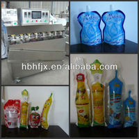 Mint Lemonade Drink in plastic soft fruit shape bag filling and sealing packing machine