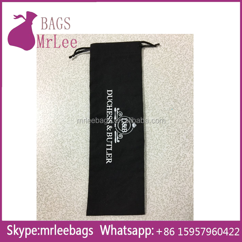 Custom printing environment-friendly black Drawstring cotton dishware Pouch bags