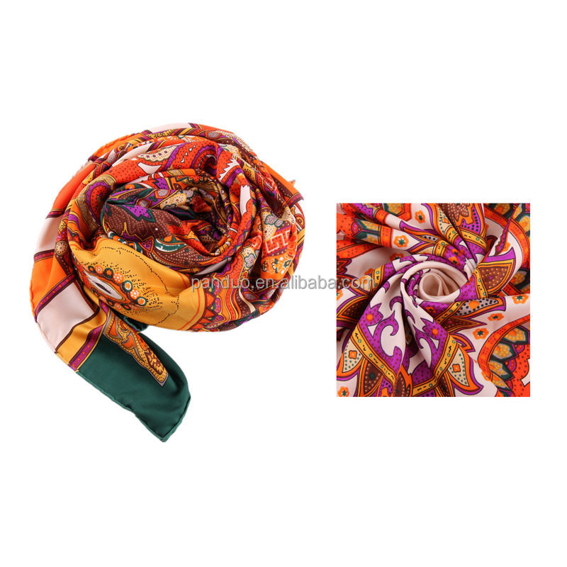 Wholesale Hijab Scarf Digital Silk Colorful Flower Printing Square Scarf