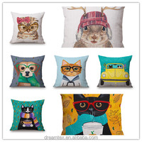 High quality cotton linen printing cat dog pillow sofa cushion cover