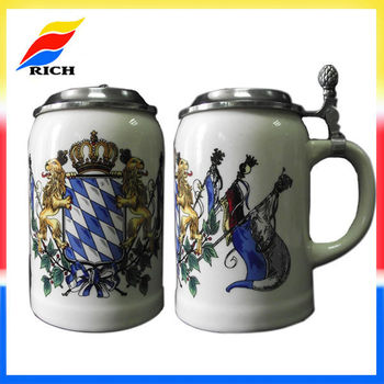 2017 Hot Selling Beer Mug Gift Unique Ceramic Beer Stein With Pewter Lid Buy Beer Stein With