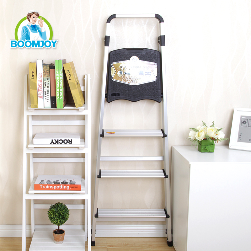 4 steps ladder handrail thicken aluminium folding ladder with tool table