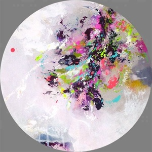 Abstract spring flowers oil painting round canvas art