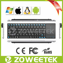 "Multimedia Wireless Stainless Steel 10"" Keyboard and Mouse for Smart TV, HTPC"