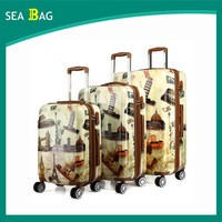 2016 style PU printed spin wheels luggage bags cases set