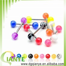 Surgical Stainless Steel Unique Tongue Barbell Acrylic Ball Tongue Barbell