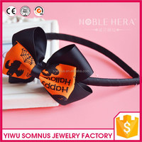 Factory directly halloween design plastic fabric ribbon bow hair band