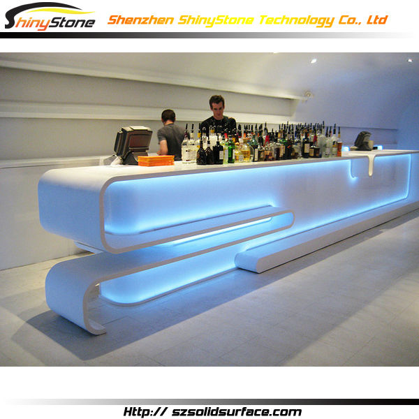 Long-shaped modern finish solid surface/artificial marble led bar furniture