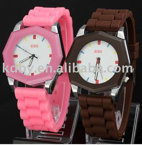 Polygon Case Blank Dial Silicone Clock Sharp Watch