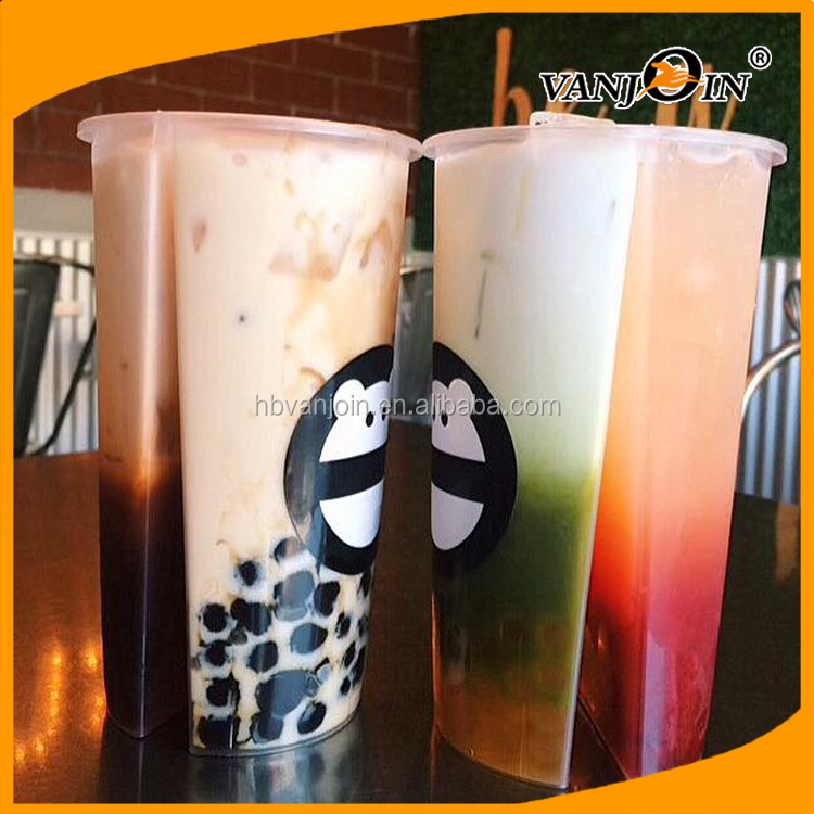 700ML Disposable plastic PP split boba tea cups with lid