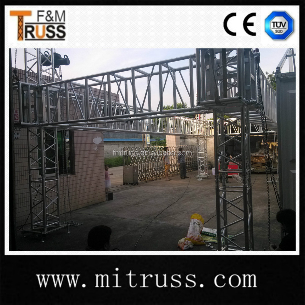 4 pillars / 4 leg tower truss for stage system wtih roof trusses