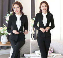 2017 Custom high quality fashion women black suit for office ware women suit