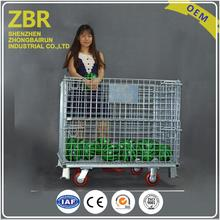 Perforated Mesh Containers Storage Good Steel Metal Cages with Wheels and Pallet Rack