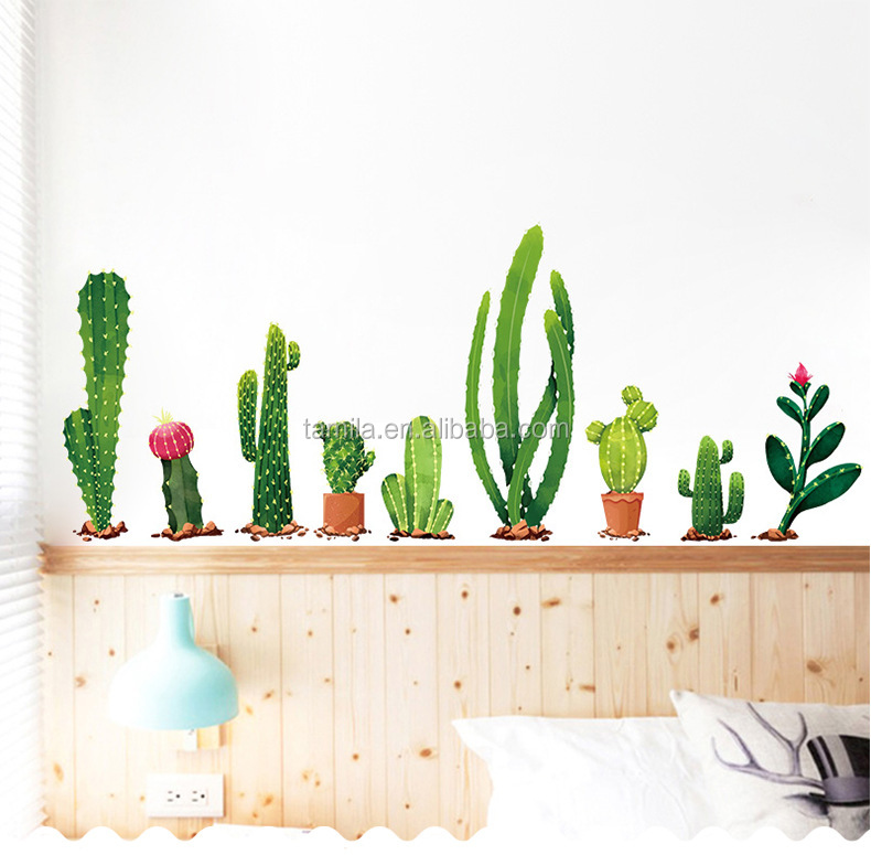 pvc Lovely Pot Flowers And Plants Cactus Pot Living Room Display Window Decorate Wall Sticker