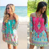 In stock Paisley Boat Neck Woman Dress