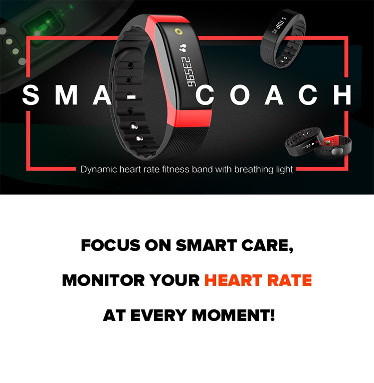SMA Coach dynamic heart rate smart band monitor in real-time Breathing LED design 8 colors show your different sport stages